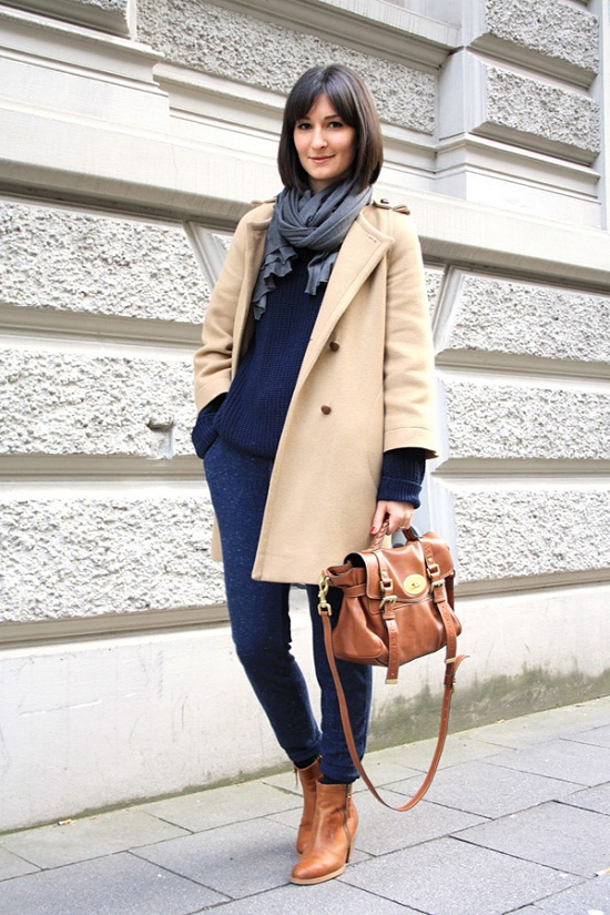 camel coat- navy blue- and carmel ankle boots- mulberry bag