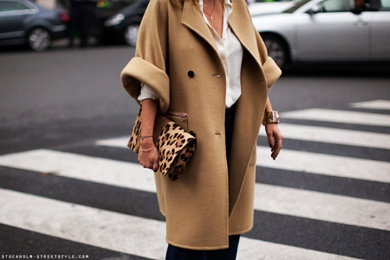 camel coat with leopard print clutch