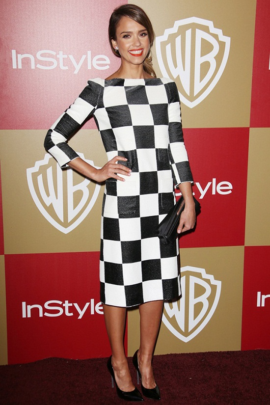 Jessica-Alba-InStyle-Golden-Globes-party-LA-Louis-Vuittton-checkerboard-print