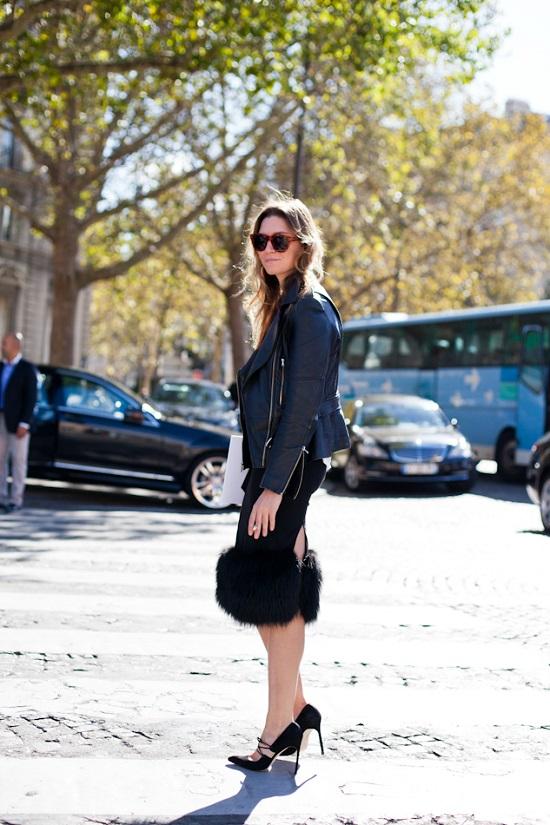 Paris Fashionweek 2012, Dior Show, fur trimmed skirt, biker leather jacket