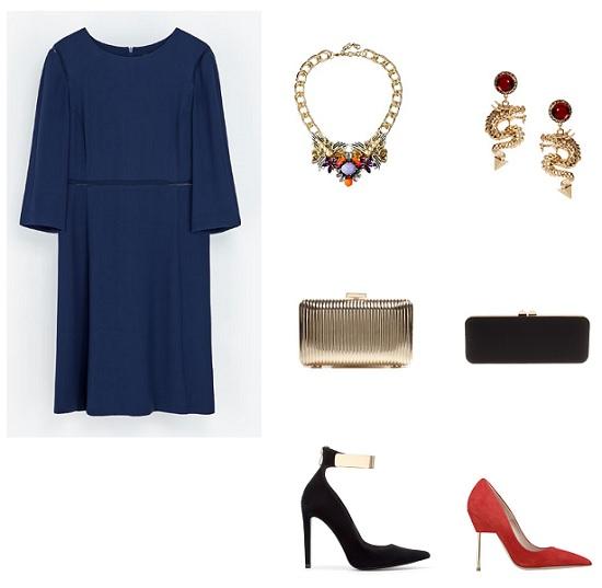 look navidad vestido azul marno