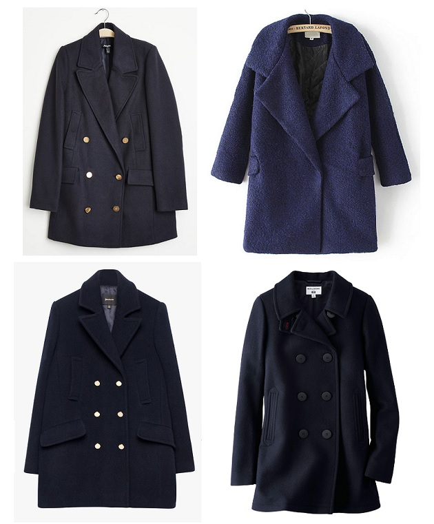 shopping navy coat