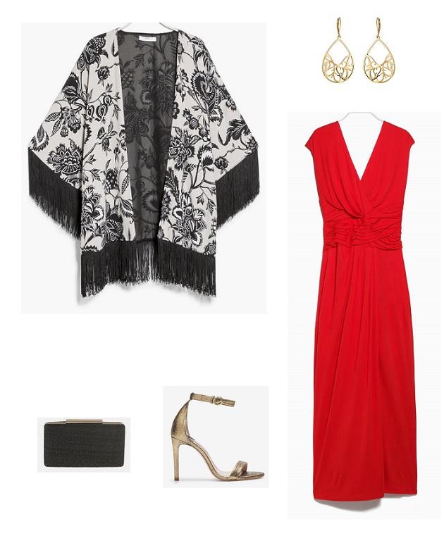 look boda vestido rojo kimono