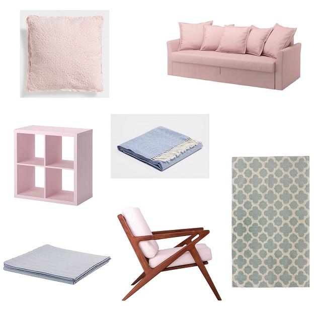 shopping decoración azul y rosa