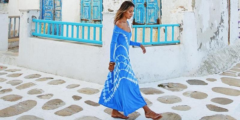 look vestido azul tie dye zara