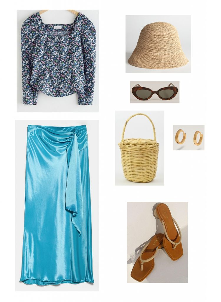 look-falda-satinada-azul