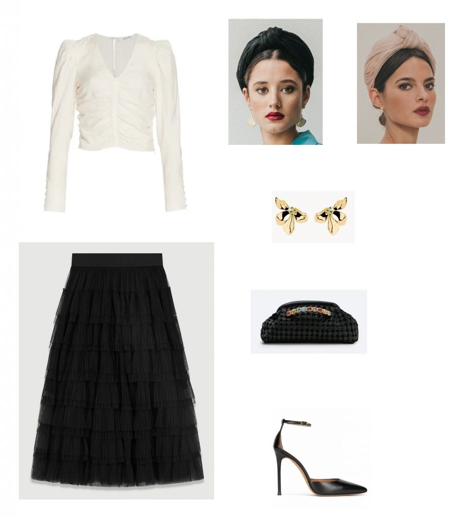 look-invitada-falda-encaje-negra