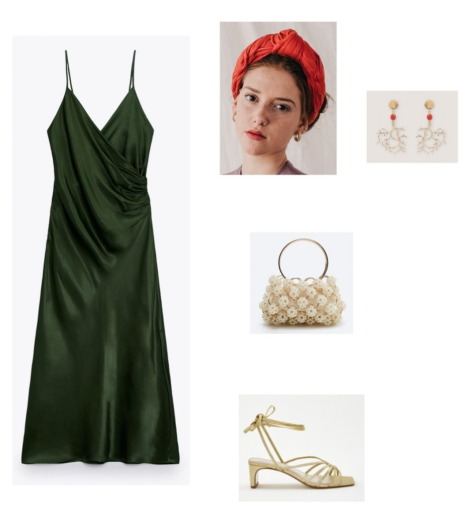 Looks invitada vestido satén verde